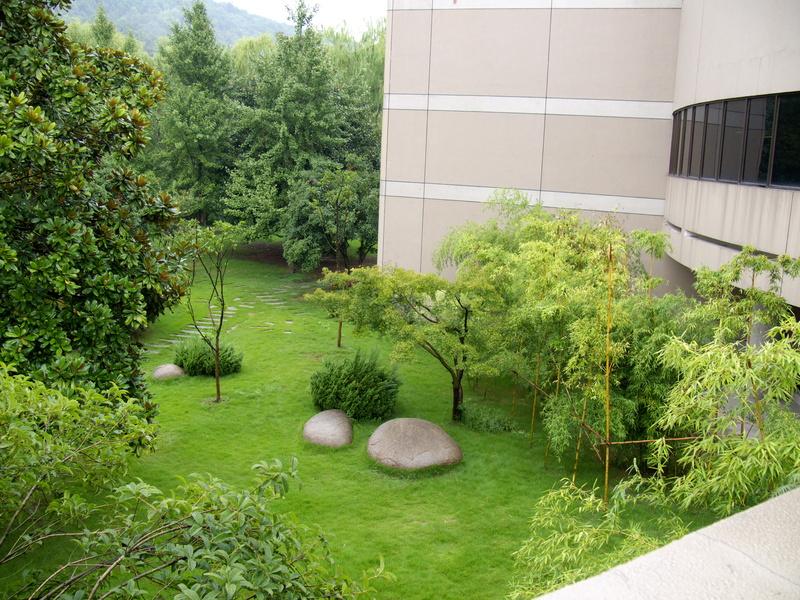 Jardin chinois avec arbres et rochers.